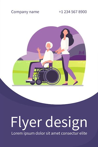 Молодая женщина в инвалидной коляске со старшим мужчиной Бесплатные векторы