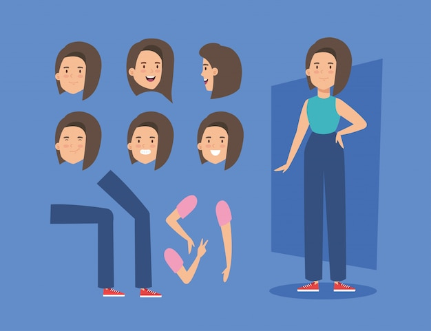 Young woman with body parts characters Premium Vector