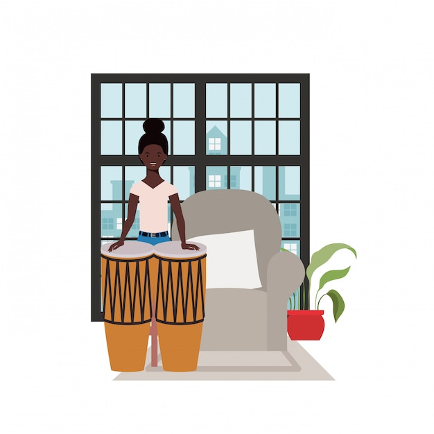 Young woman with congas Premium Vector
