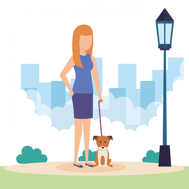 Young woman with dog in the park Free Vector