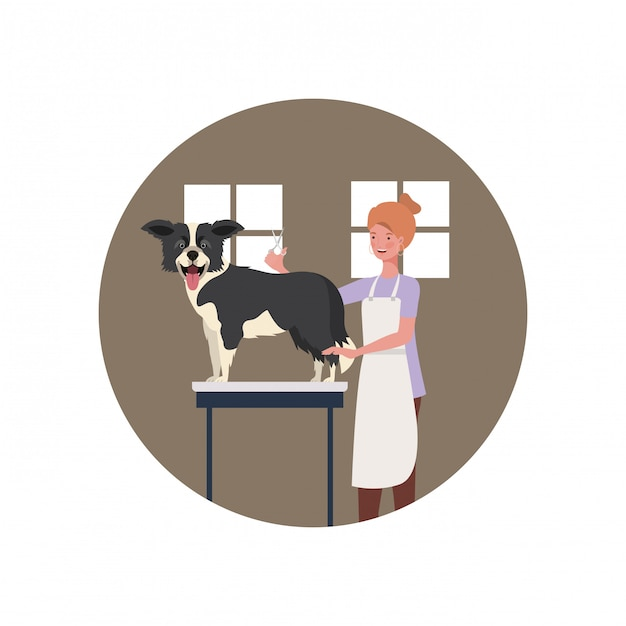 Young woman with dog in pet groomer Premium Vector