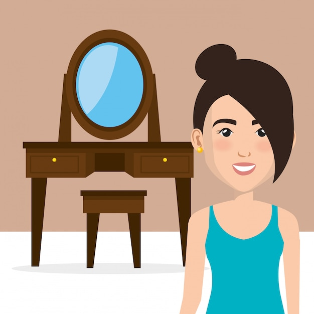 Young woman with dressing table character scene Free Vector