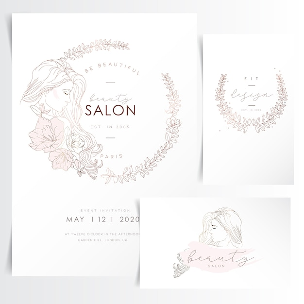 Young woman with long hair in flower wreath for event invitation template Premium Vector