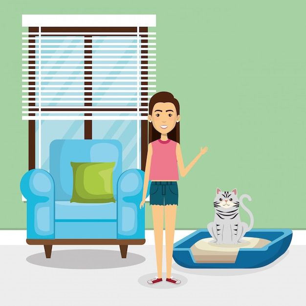 Young woman with mascot in the house Free Vector