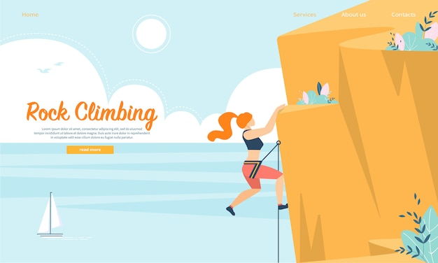 Young woman with rope and sports equipment engaged in rock climbing Premium Vector
