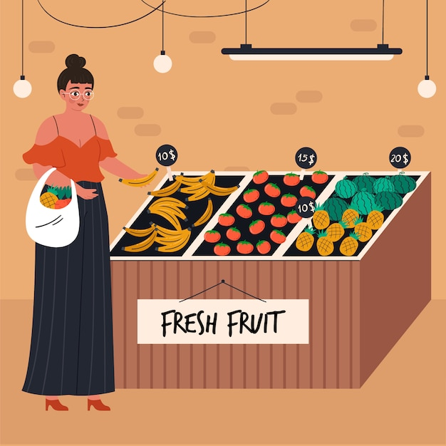 Young woman with shopping basket buying food at grocery store Free Vector
