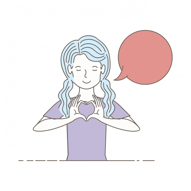 Young woman with speech bubble avatar character Premium Vector