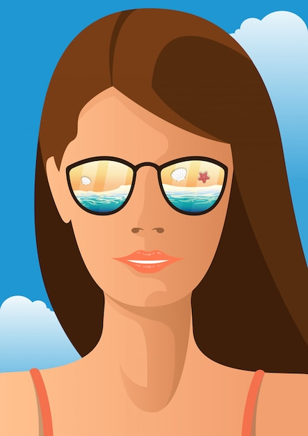 Young woman with sunglasses that reflects beach landscape. summer concept  illustration Premium Vector