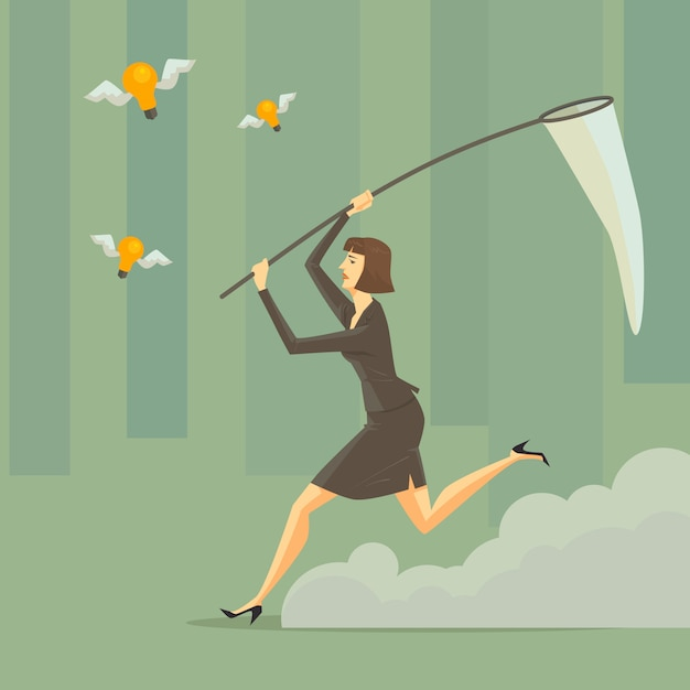 A young woman with a sweep net at green forest. Premium Vector