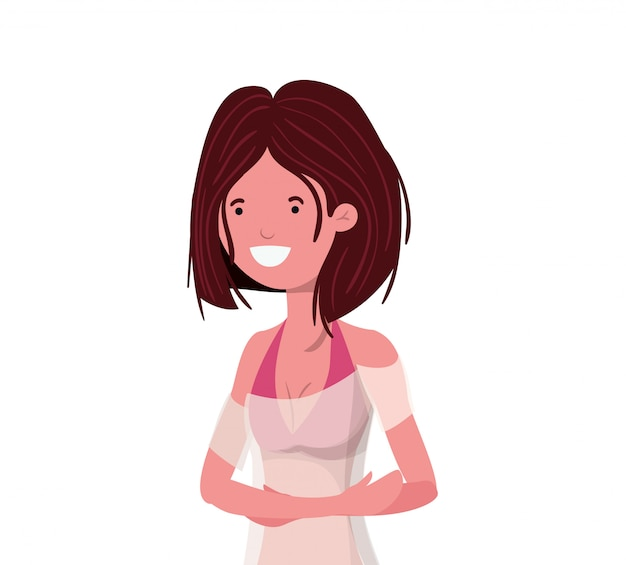 Young woman with swimsuit on white Free Vector