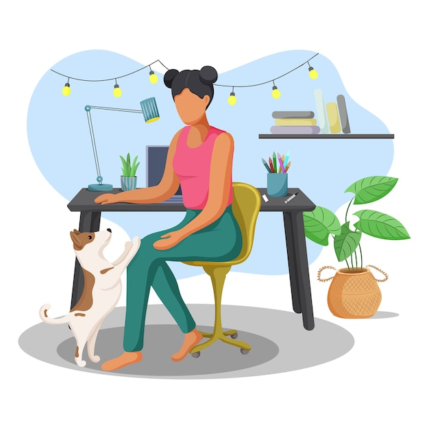 Young woman working at home with her cute dog. Premium Vector