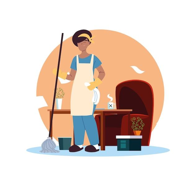 Молодая женщина, работающая в уборке дома дизайн Premium векторы