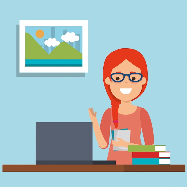 Young woman in workplace Free Vector