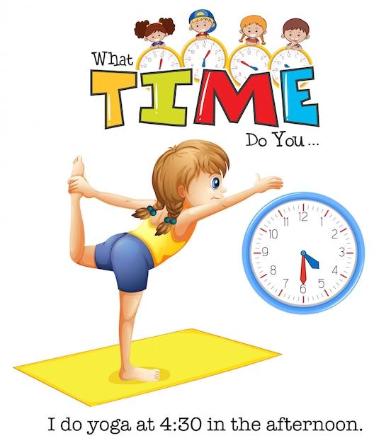A young woman yoga at 4:30 Free Vector