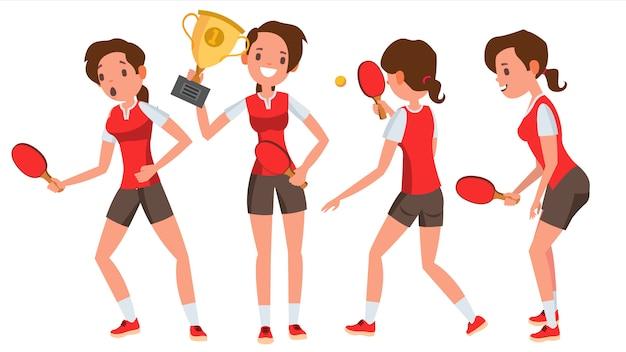 Набор символов для игрока в настольный теннис young woman Premium векторы