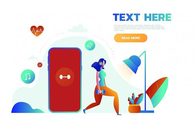 젊은 여성은 스포츠 및 피트니스 추적 심장 박동 데이터 및 맥박수 정보를 얻기위한 앱으로 큰 스마트 폰 근처에 서 있습니다. 프리미엄 벡터