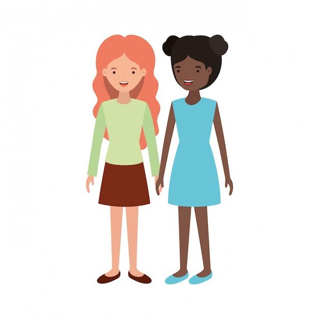 Young women  avatar character Premium Vector