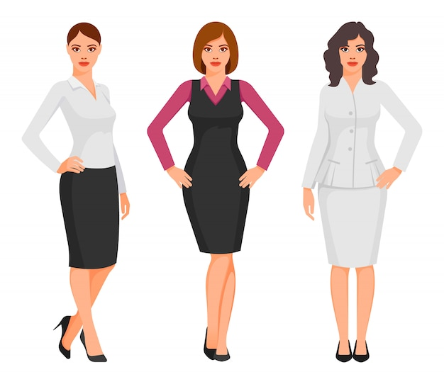 Young women in elegant office clothes Premium Vector