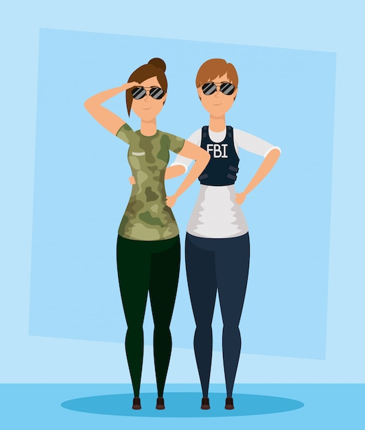 Young women fbi agent with military characters Premium Vector