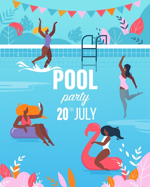 Young women having fun in swimming pool party poster Premium Vector