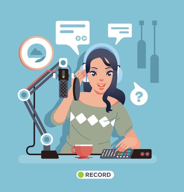 マイク、設備、テーブルの上のコーヒーと一緒にスタジオでソロポッドキャストレコーディングを行う若い女性。ポスター、ウェブサイトの画像などに使用 Premiumベクター