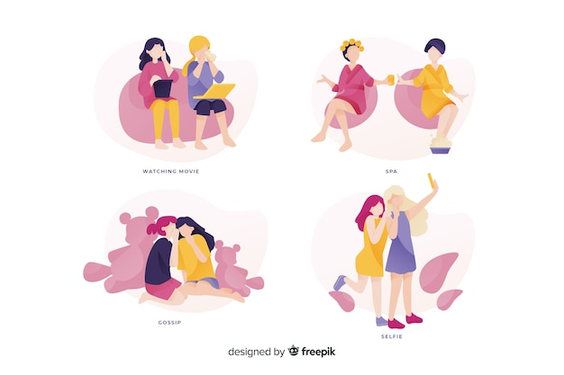 Young women spending time together Free Vector