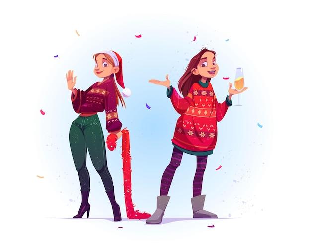 Giovani donne in brutti maglioni festeggiano il natale e il nuovo anno Vettore gratuito
