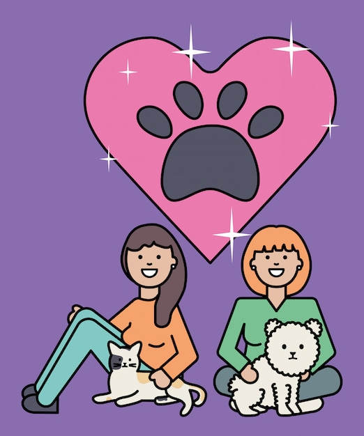 Young women with cute cat and dog mascots Free Vector