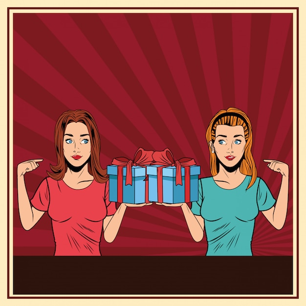 Young women with a gift box pop art Free Vector