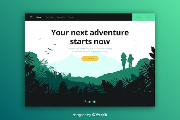 Your next adventure starts landing page Free Vector