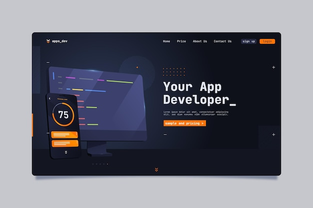 Your app developer landing page template Free Vector