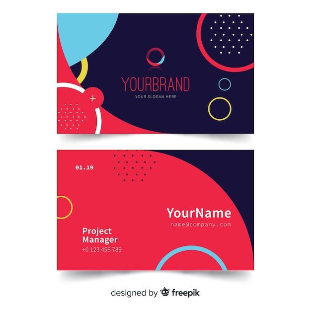Ваш фирменный шаблон визитки с мемфисом и кружочками Бесплатные векторы
