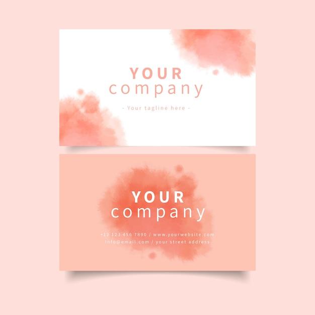 Шаблон визитки вашей компании в розовых пастельных тонах Бесплатные векторы