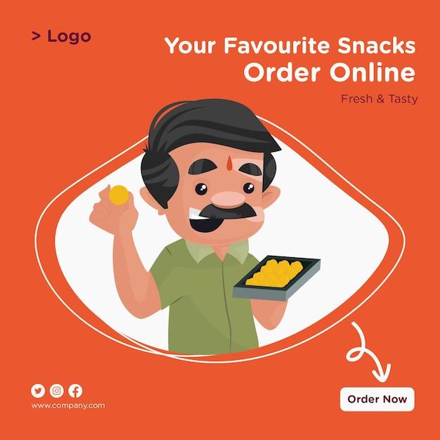 お気に入りのスナックは、お菓子トレイを手に持った菓子屋のオンラインバナーデザインを注文します Premiumベクター