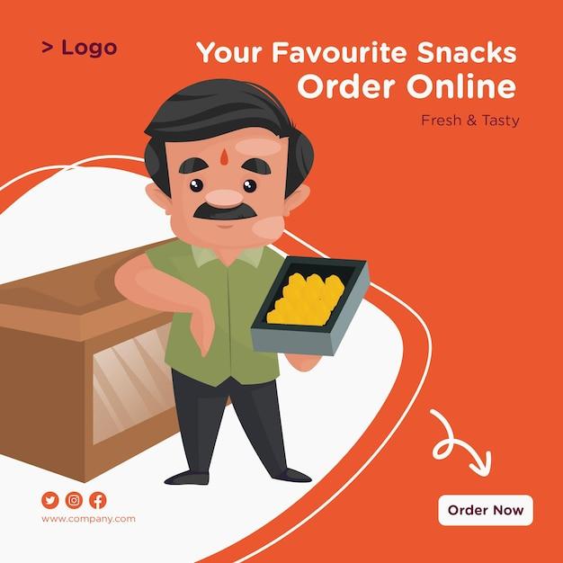 お気に入りのスナックは、お菓子トレイと一緒に立っている菓子屋のオンラインバナーデザインを注文します Premiumベクター