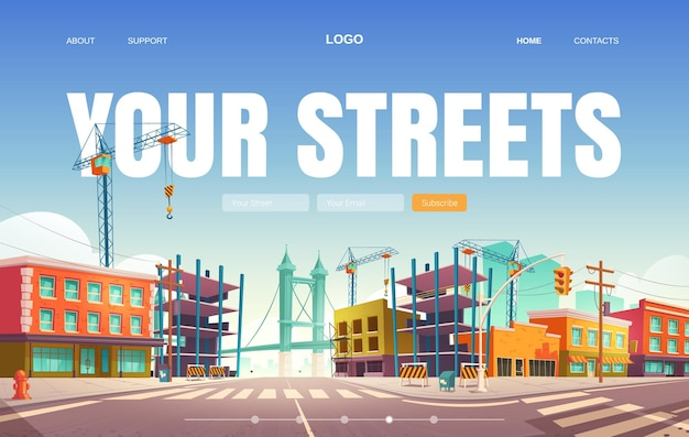 Your streets web banner. Free Vector