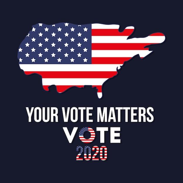 미국지도 디자인, 대통령 선거 정부 및 캠페인 주제로 2020 년에 귀하의 투표가 중요합니다. 프리미엄 벡터