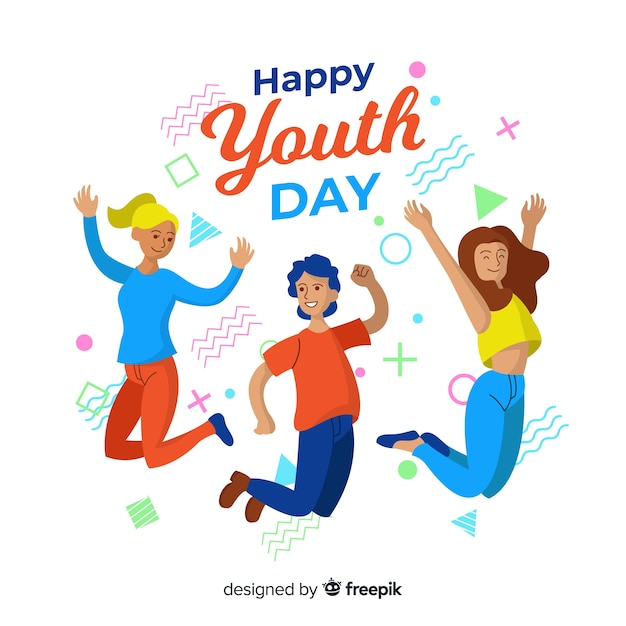 Youth day background flat style Free Vector