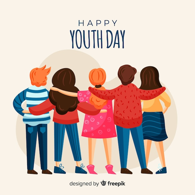 Youth day background hand drawn style Free Vector