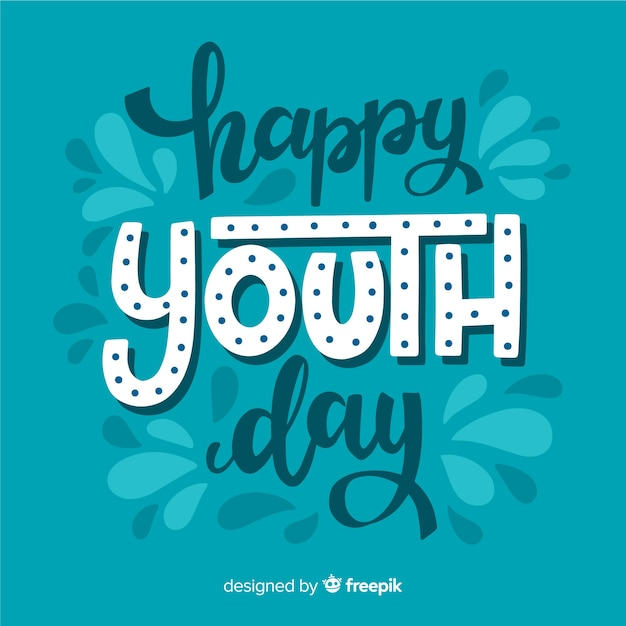 Youth day background lettering style Free Vector