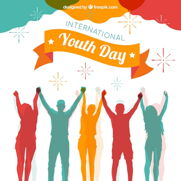 Youth day background with colorful silhouettes Free Vector