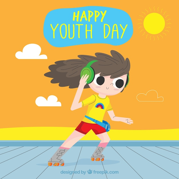 Youth day background with girl on skates Free Vector