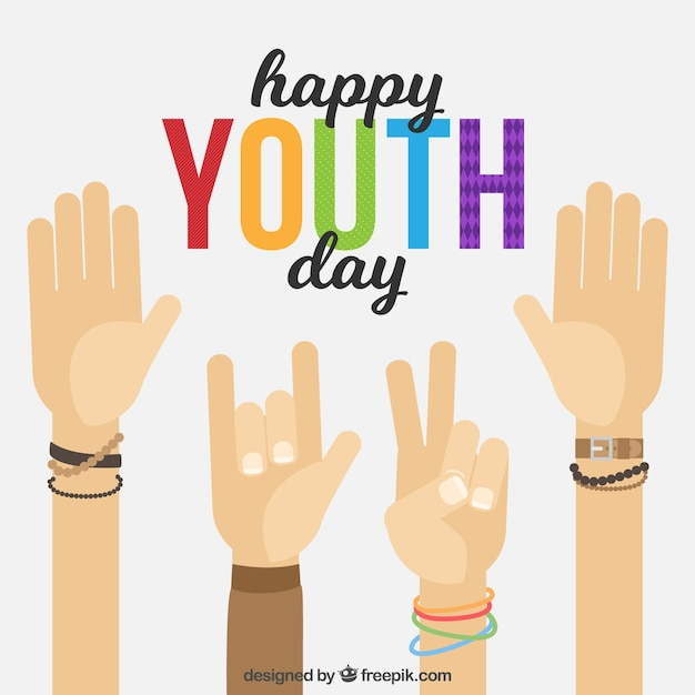 Youth day background with hands greeting