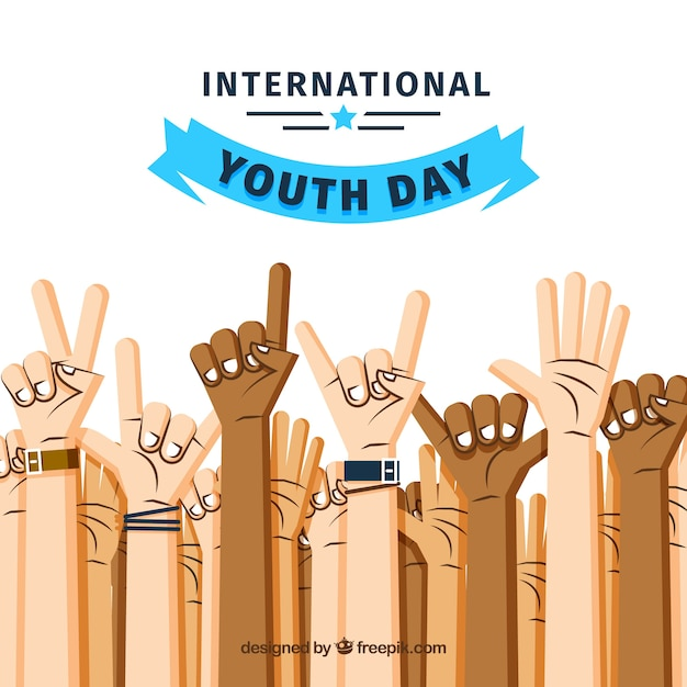 Youth day background with hands Free Vector