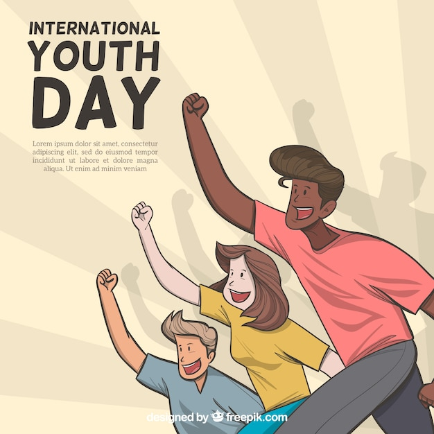Youth day background with happy people Free Vector