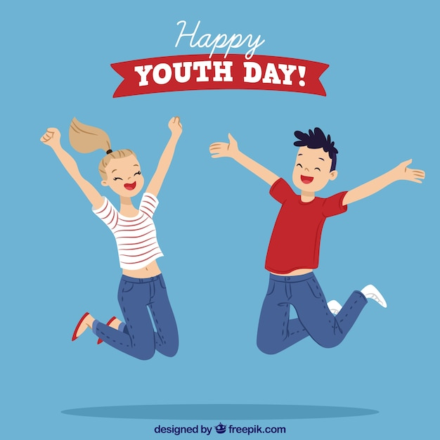 Youth day background with jumping kids Free Vector