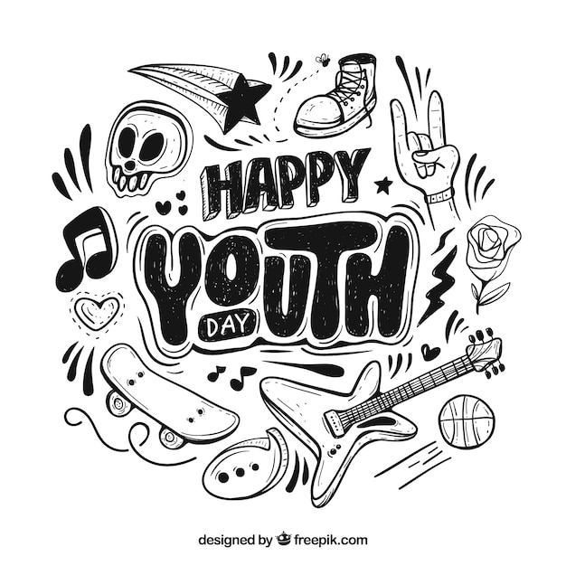 Youth day background with lettering Free Vector