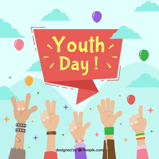 Youth day background with raised hands