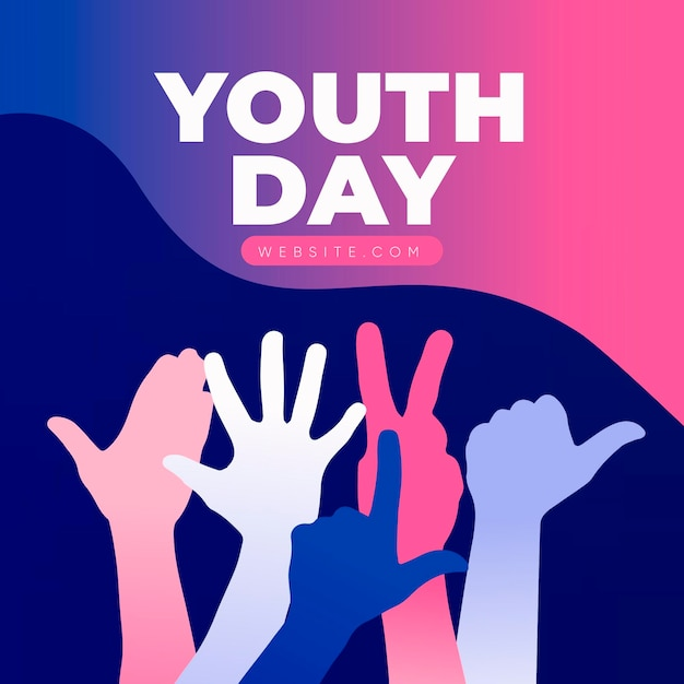 Youth day celebration with silhouettes Free Vector