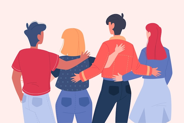 Youth day illustration with people hugging together Free Vector